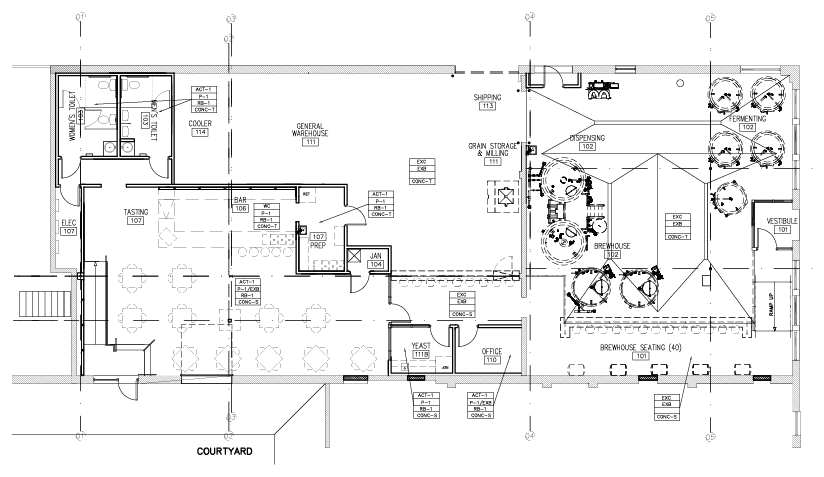 Brewery floor plan building components pinterest for Brewery floor plan